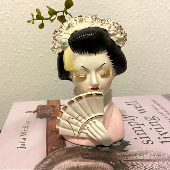 Vintage Geisha Lady Head Vase Pink with Fan